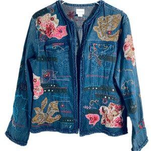 Chico's Embellised Denim Jacket Size 12